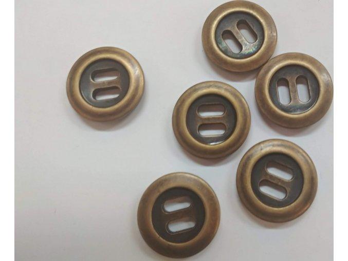 Gombík dvojdierkový plastový 25 mm staromosadz