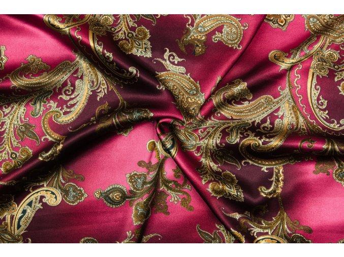 Umelý hodváb / Silky Armani zrnitý merlot so zlatými kašmírovými ornamentmi