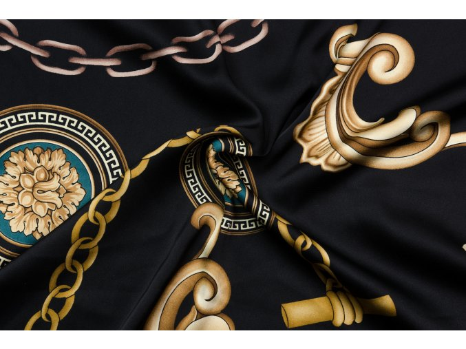 Umelý hodváb / Silky Armani ornamenty a reťaze na čiernej