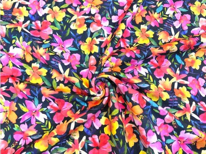Teplákovina pestré kvety na tmavomodrej