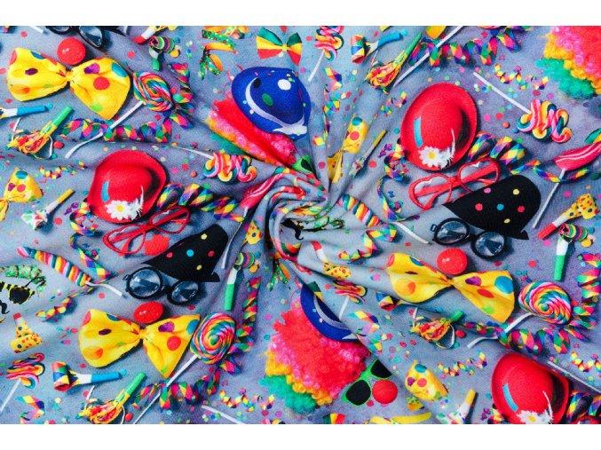 Bavlnený jednostranný úplet karneval digi tlač