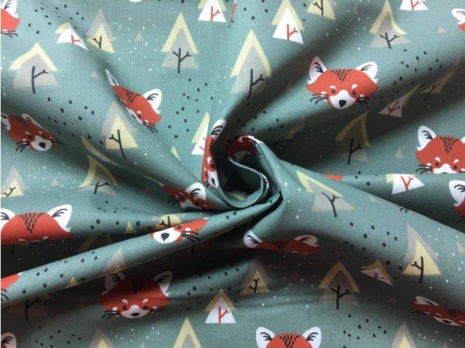Bavlnené plátno červené pandy a stromy na svetlej khaki