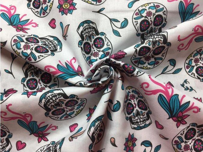 Bavlnené plátno mexické lebky na bielej