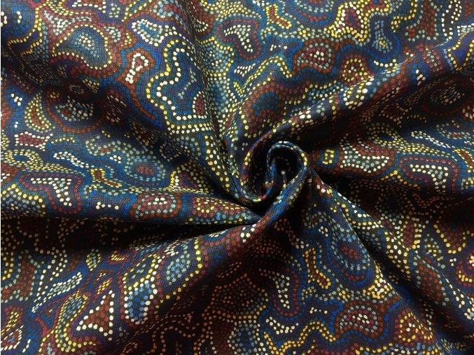 Bavlnené plátno mozaika modrá