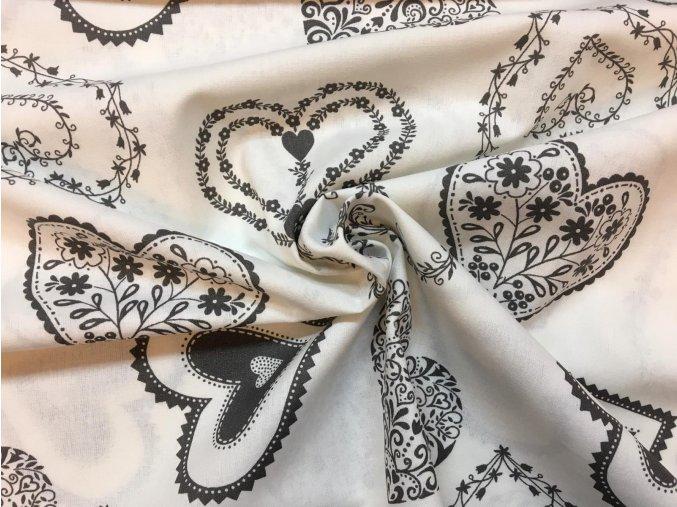 Bavlnené plátno sivé čipkované srdiečka na bielej