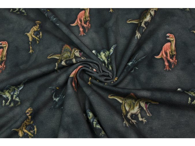 Bavlnený úplet Jurský svet s dinosaurami na tmavej khaki