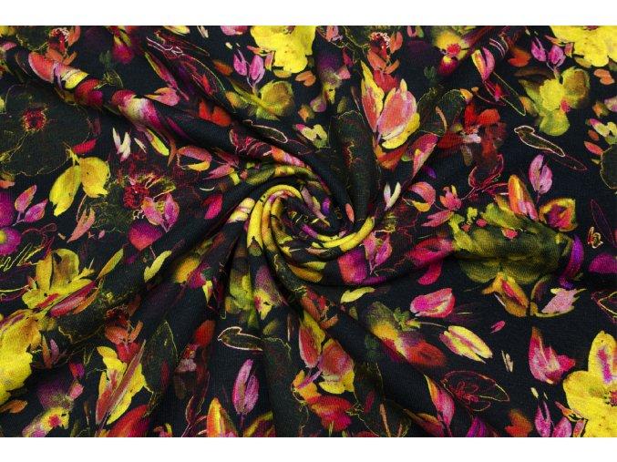 Bavlnený úplet žlté a ružové kvety na čiernej
