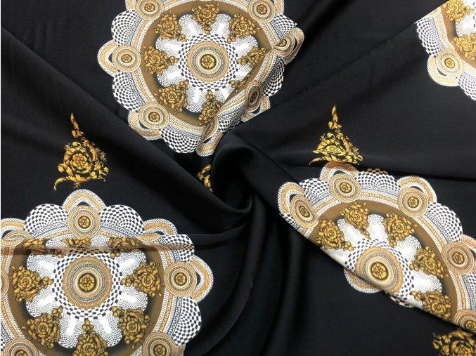 Umelý hodváb / Silky zlaté ornamenty v kruhu na čiernej