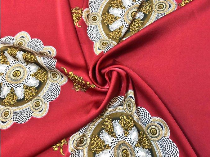 Umelý hodváb / Silky zlaté ornamenty v kruhu na vínovej svetlej