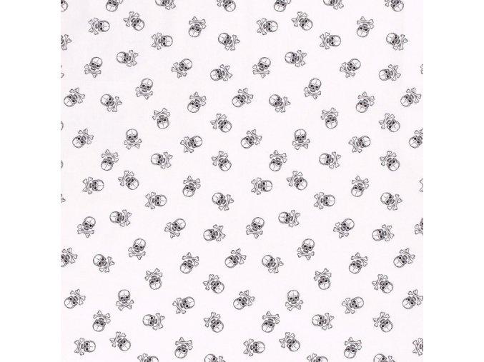 Bavlnené plátno čierne lebky na bielej