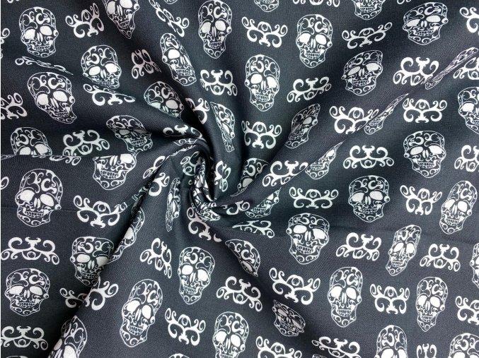 Bavlnené plátno lebky na čiernej