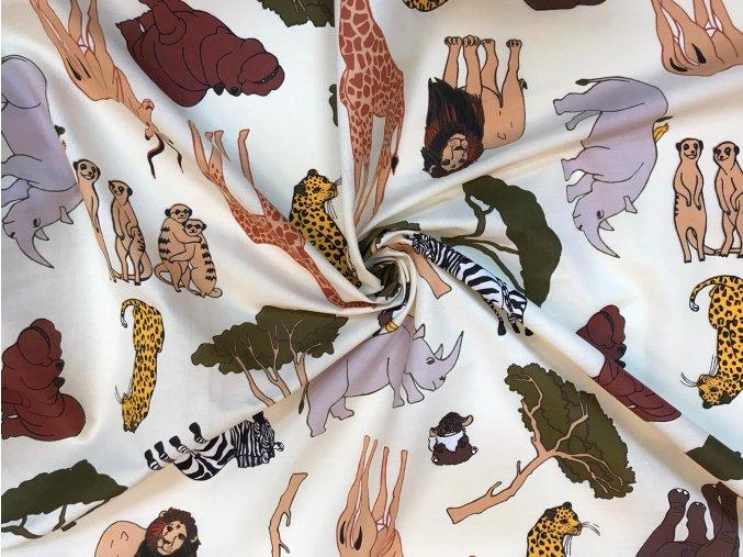 Bavlnené plátno safari na smotanovej