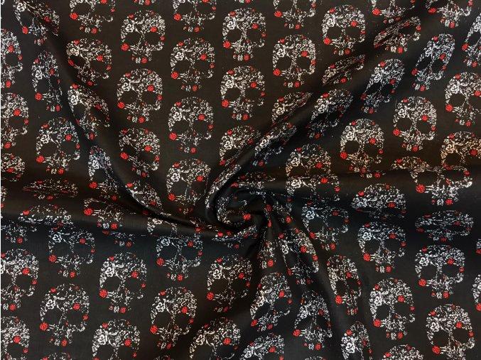 Bavlnené plátno kvetinové lebky na čiernej