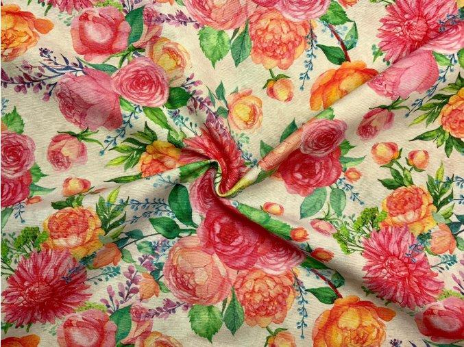 Bavlna režná veľké ružové kvety