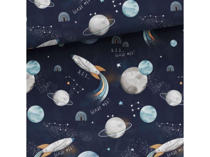 Bavlnené plátno planéty a rakety