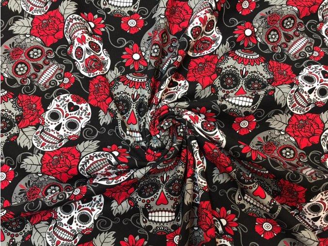 Bavlnený úplet červeno-čierne lebky