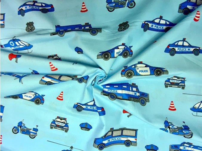Bavlnené plátno policajný vozový park na svetlej modrej