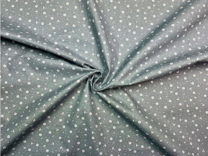 Bavlnené plátno biele drobné kvietky na sivej