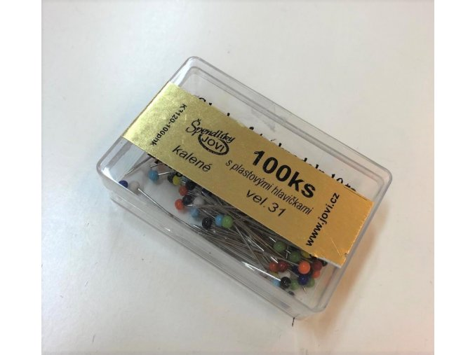 Špendlíky s plastovou hlavičkou dĺžka 31 mm krabička 100 ks