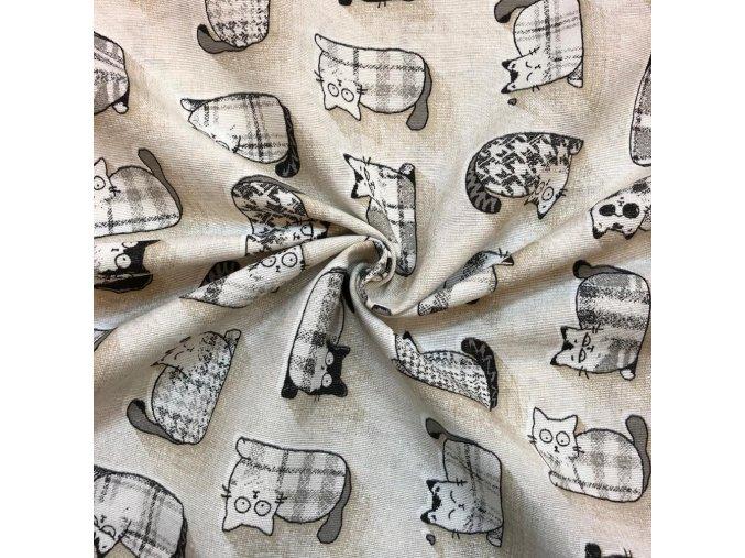 Bavlna režná vzorované mačky sivé