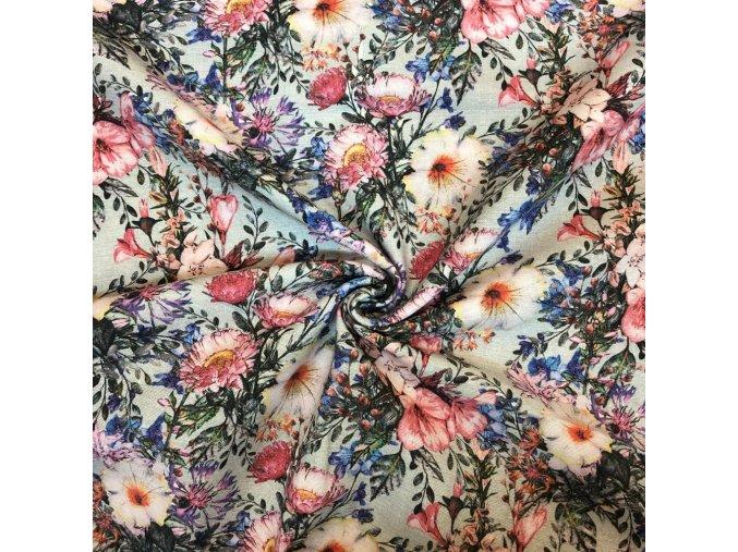 Režná bavlna modré lúčne kvety