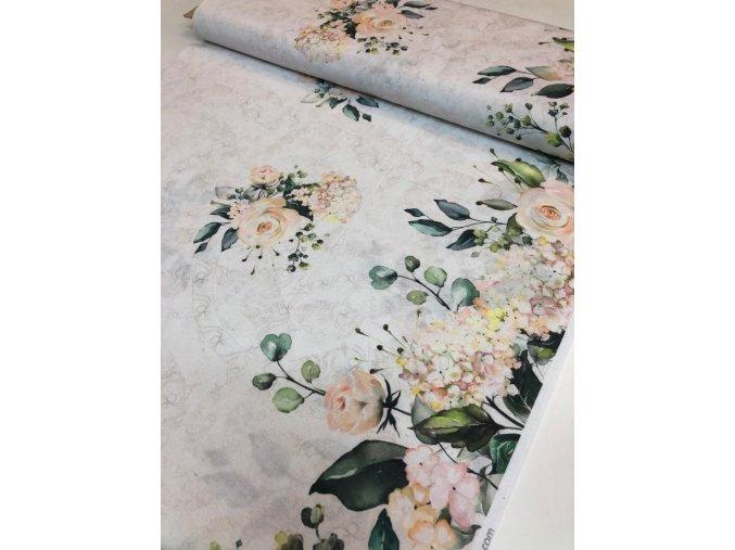 Režná bavlna obojstranná bordúra ruže
