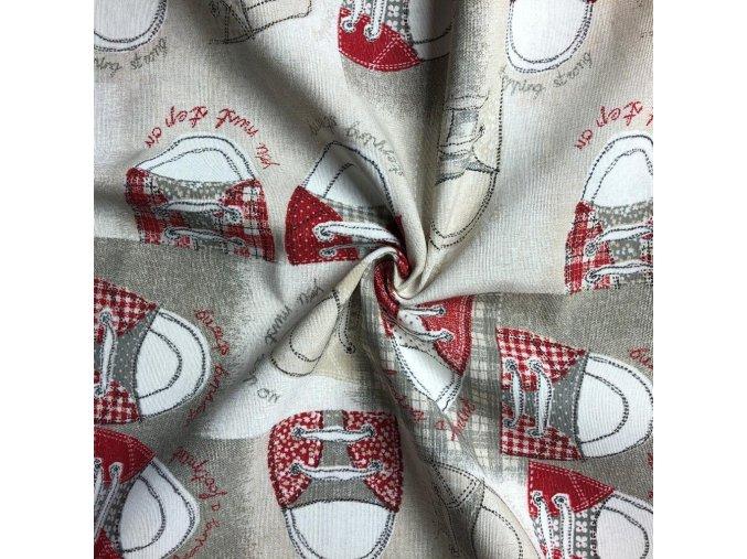 Bavlna režná červené tenisky