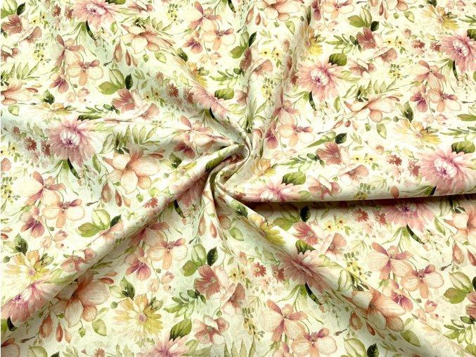 Bavlnené plátno ružové kvety
