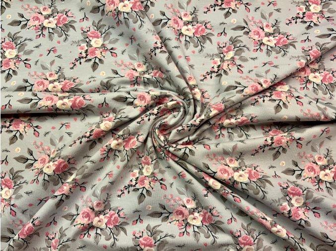 Bavlnený úplet ružičky na sivej