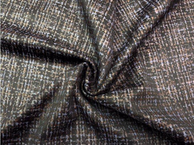 Úplet kostýmový sivo-hnedé čiary na čiernej