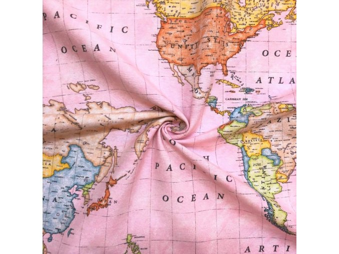 Bavlna režná mapa sveta na ružovej