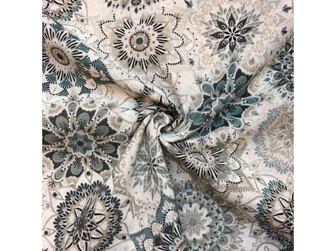 Bavlna režná kvetinové mandaly sivo-modré