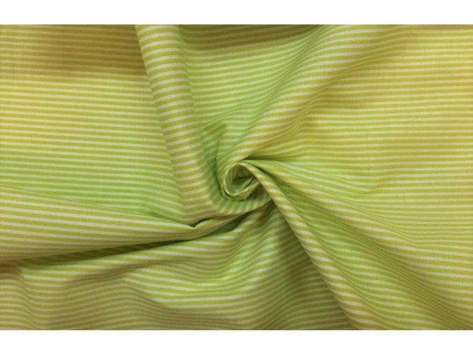 Bavlnené plátno svetlozelený úzky prúžok