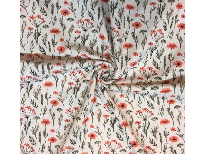 Bavlnený úplet vlčie maky s lístkami