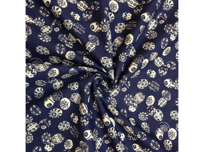 Bavlna plátno kraslice na modrej