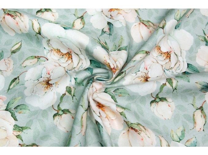 Bavlnený satén ruže na tmavej mätovej Digi tlač
