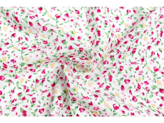 Viskózová tkanina kvietky na bielej