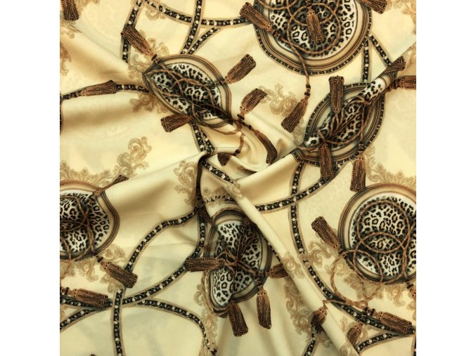 Umelý hodváb / Silky Armani ornamenty s leopardím vzorom na béžovej