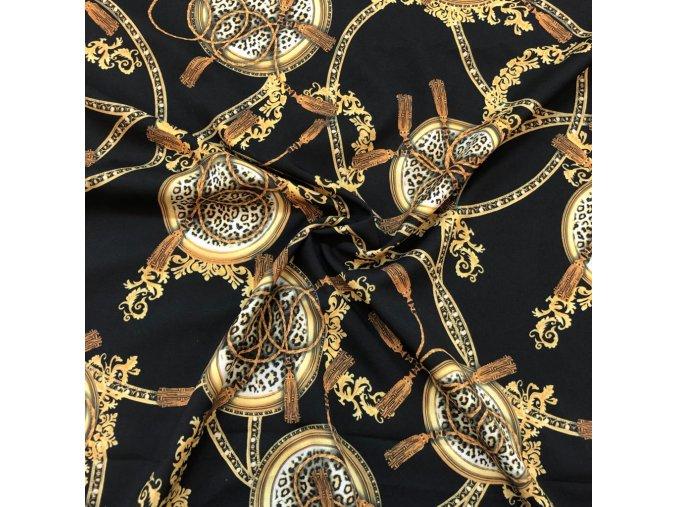 Umelý hodváb / Silky Armani ornamenty s leopardím vzorom na čiernej
