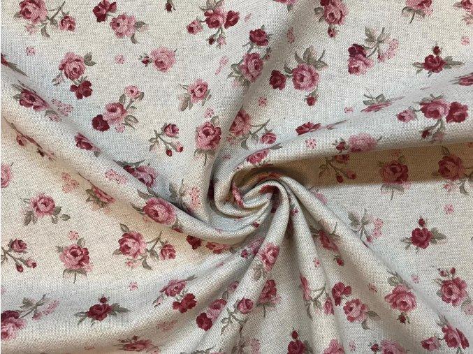 režná bavlna vzor růžicky - Vintage látka