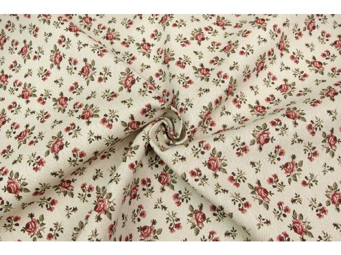Bavlna režná růžičky na béžové