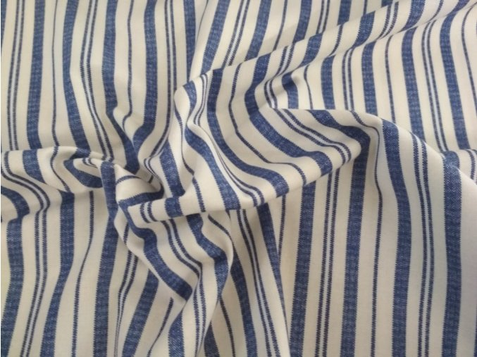 Bavlna pruhy modré na biele