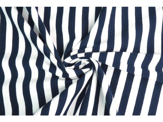 Bambusový úplet pruhovaný modro-biely 1 cm