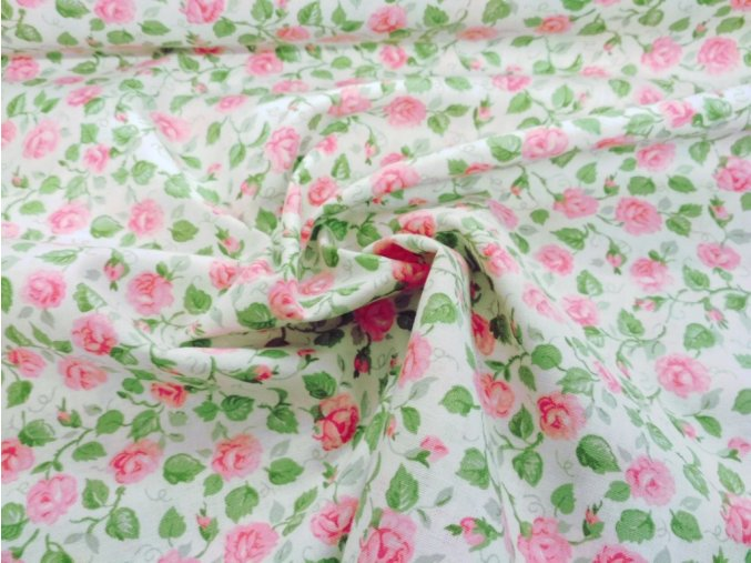 Bavlna ružičky na smotanovej
