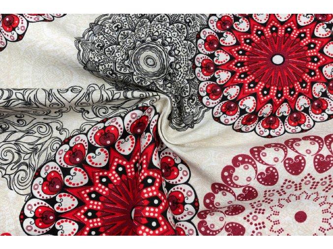 bavlna metraz cervene mandaly