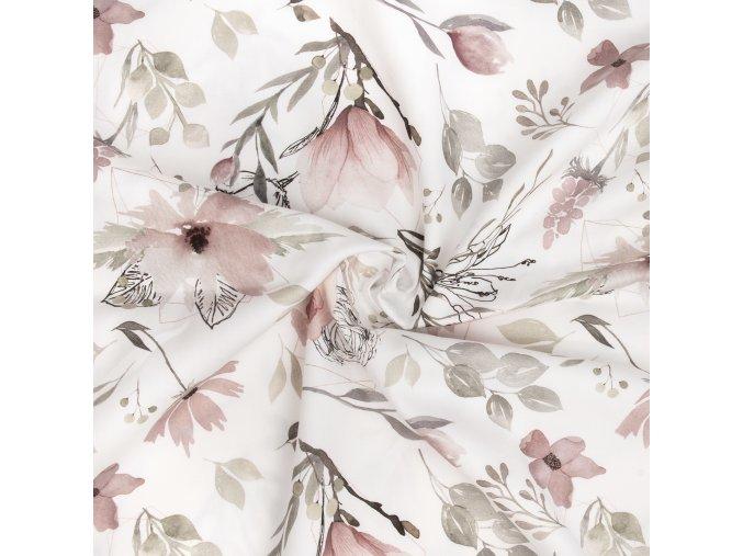 Bavlněné plátno květy na smetanové digi tisk náhled