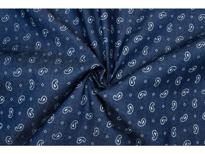Rifľovina košeľová tmavomodrá s ornamentmi