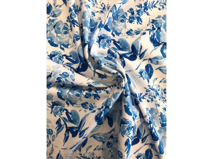 Bavlněný satén modré ruže 1