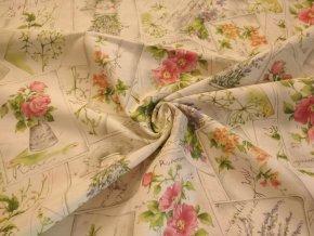 Bavlna režná kvetinové pohľadnice