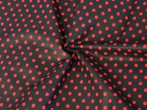 bavlnene platno puntik cerveny na cerne pohled